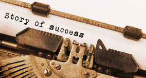 Vintage inscription made by old typewriter, Story of success