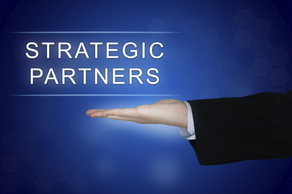 strategic partner button on blue background